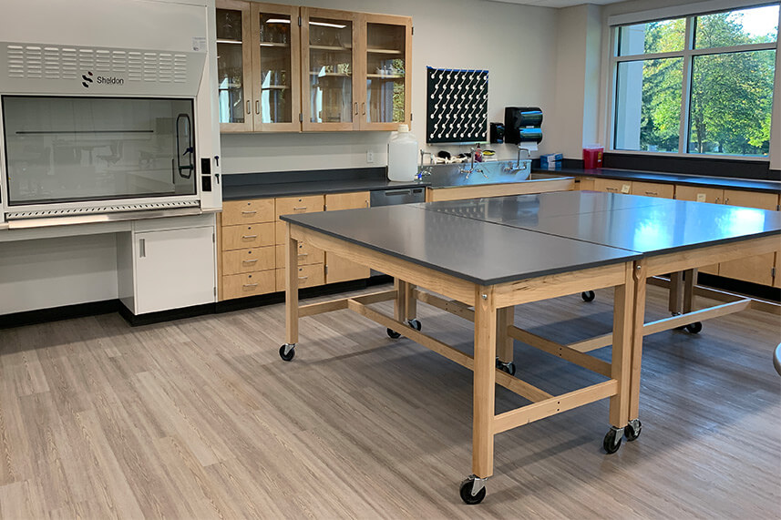 Wood Base Lab Tables for an Educational Lab
