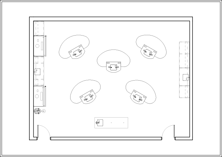 Sample Layout 1 for Axis Workstations in an Educational Lab