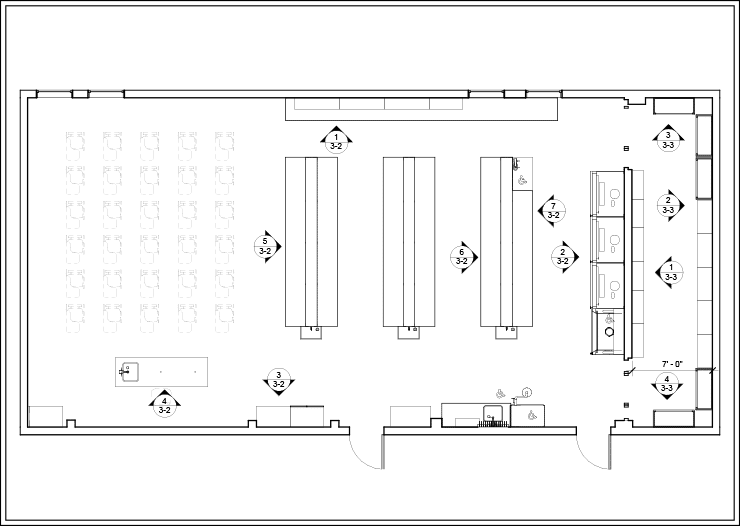 Sample Layout 2 for Island Benches in an Educational Lab