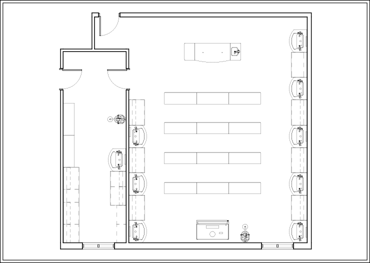 Sample Layout 1 for Metal Based Lab Tables in an Educational Lab